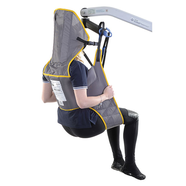 padded toileting patient sling with head support